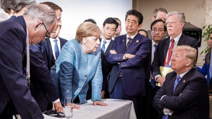 美國總統川普拒簽G7公報並指責加拿大總理特魯多不誠實,導致加元下挫。(圖:AFP)