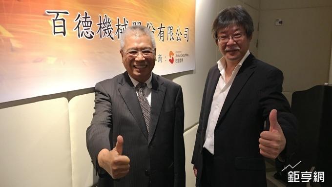 百德機械董事長謝瑞木(左)和廖子恩(右)。(鉅亨網記者王莞甯攝)
