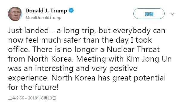 川普認為,北韓已不再構成核威脅。(圖:翻攝自川普推特)