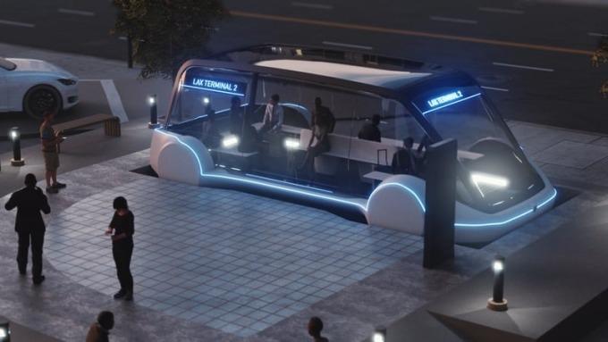 地底電動車廂示意圖      (圖取自Boring Company官網)