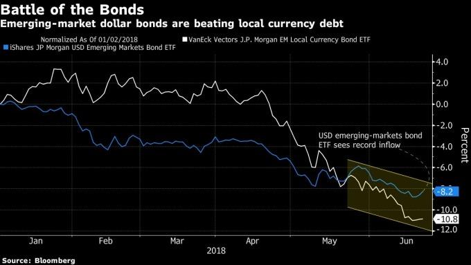 新興市場當地貨幣債券 ETF 資金外流至新興市場美元債券 ETF