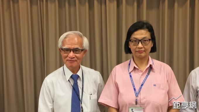 左起為中美晶董事長盧明光、中美晶總經理徐秀蘭。(鉅亨網記者林薏茹攝)