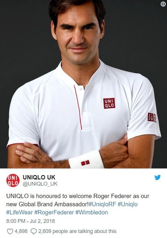 費德勒與Uniqlo簽約合作 / 圖:推特