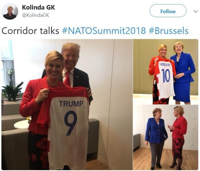 克羅埃西亞總統贈送川普球衣 / 圖:推特