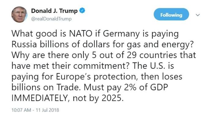 川普呼籲NATO應提高國防支出 / 圖:推特
