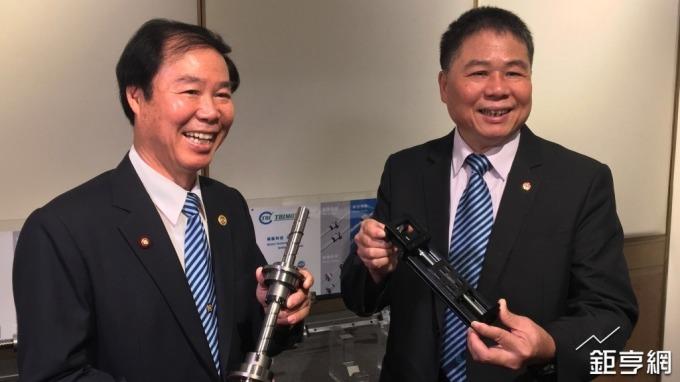 左起為全球傳動董事長李清崑、總經理李進勝。(鉅亨網記者林薏茹攝)