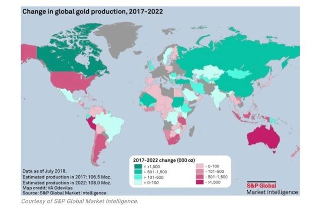 2017 年 - 2022 年全球黃金產量變化