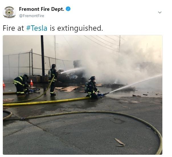Fremont 消防局表示火勢已經撲滅(圖:Fremont 消防局的推特)