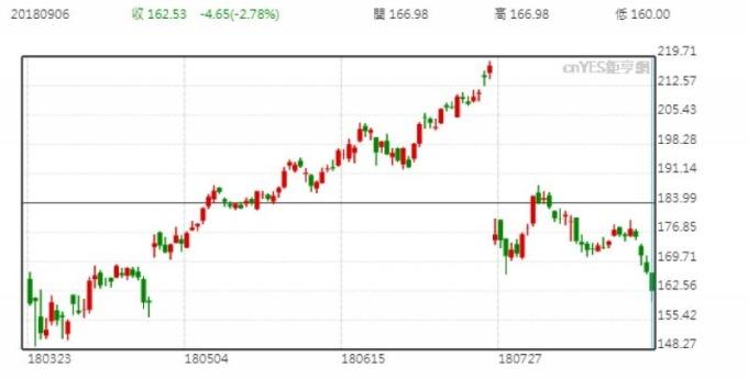 臉書股價日線走勢圖 (近半年來表現)