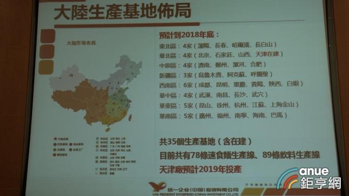 統一今年在中國市場將完成35個生產基地。(鉅亨網記者張欽發攝)