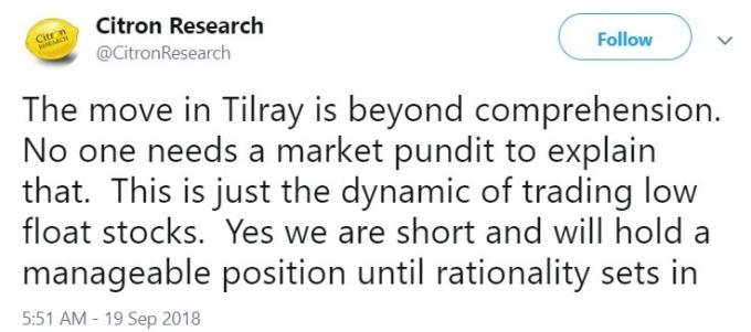 Citron 看貶 Tilray 股 / 圖:推特