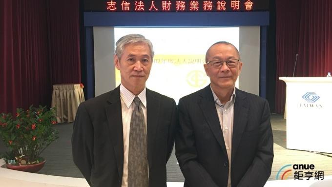 志信董事長黃春發(右)與總經理王勝雄(左)主持法說會。(鉅亨網記者王莞甯攝)