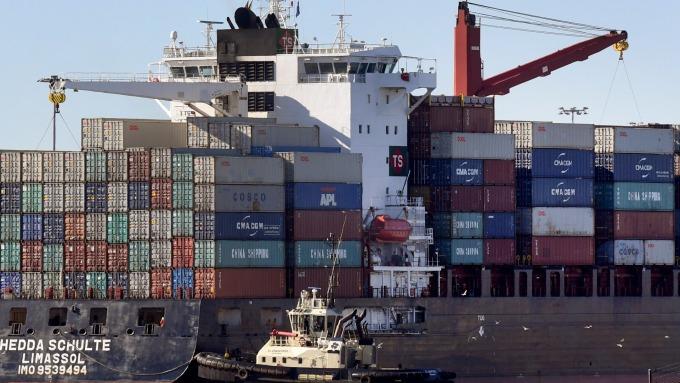 圖:AFP 美國8月商品貿易赤字大幅上升