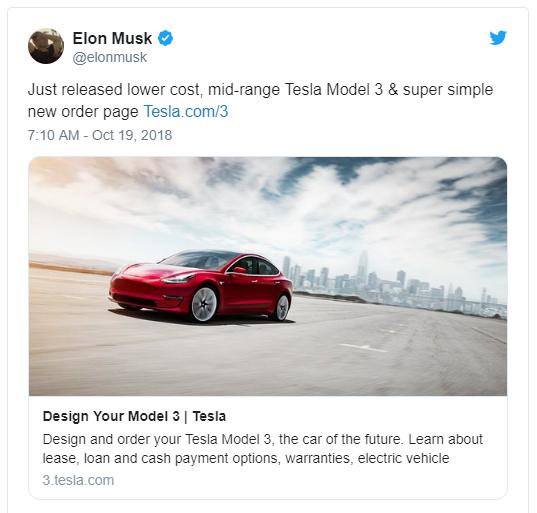 馬斯克在推特上表示將推出中型Model 3 (圖:CNET)