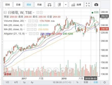 (圖二:集中市場最績優、藍籌股,台積電股價周K線圖)