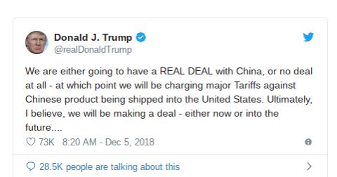 川普稱,美國將與中國有真正的協議,或者惃本無法達成協議,那麼美國就會對中國啟動高額關稅。