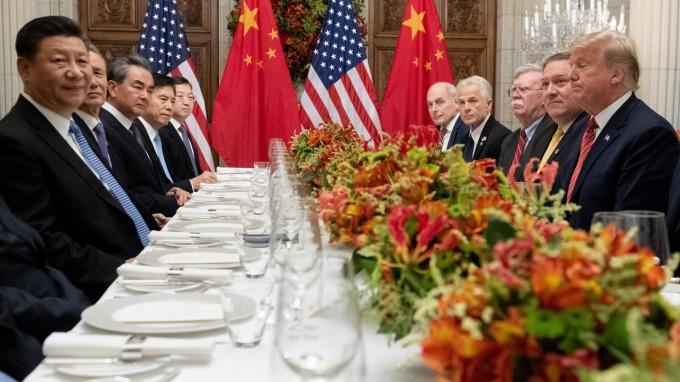 G20峰會期間舉行的川習會。(圖:AFP)