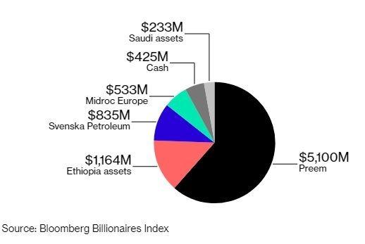 Al Amoudi的財務分布(圖表取自彭博)