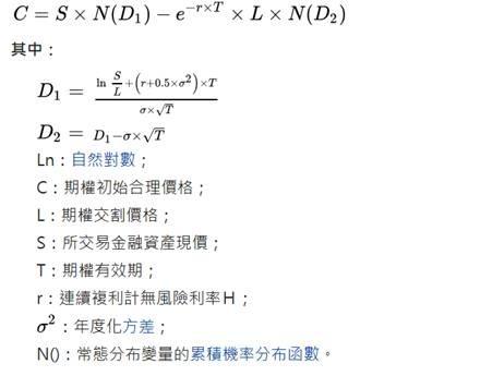 (圖四:選擇權定價 BS 模型,維基百科)