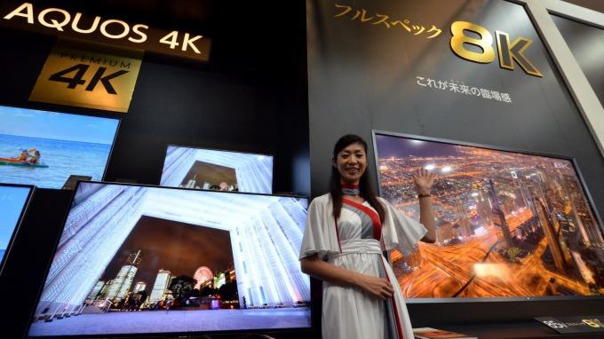 SHARP 8K電視 (圖片來源:AFP)
