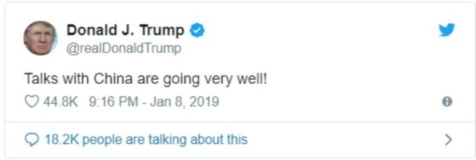 美國總統川普週二推文稱,美中貿易談判進展非常順利。(圖:川普推特)