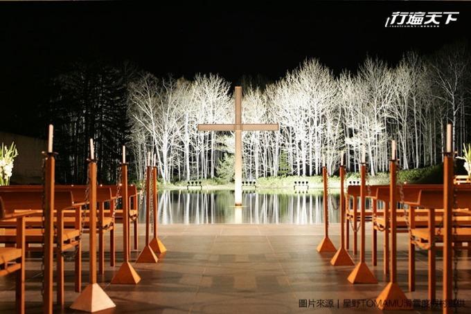 安藤忠雄的水之教堂是渡假村內最寧靜的一處角落。