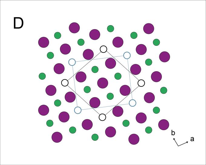 β-Fe4Se5 (一種鐵硒超導) 的單晶結構示意圖,綠色是鐵原子,粉紅色是硒原子,可以看出鐵原子有規律的空缺。 資料來源│〈高溫超導的鐵器時代─從「銅基超導」到「鐵基超導」〉,作者:吳茂昆