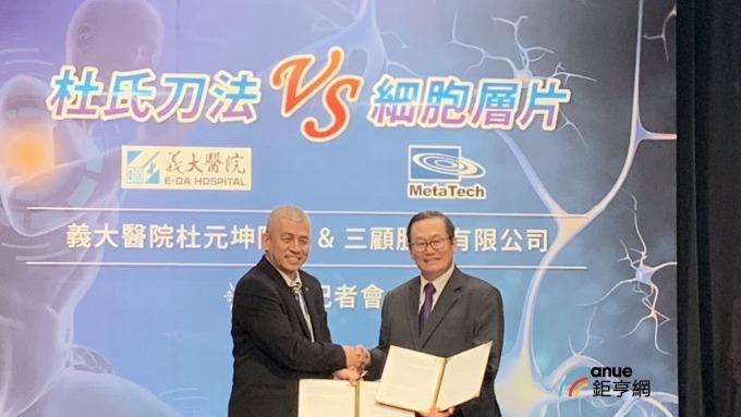 三顧董事長胡立三(左)與義大醫院院長杜元坤(右)簽署合作合約。(鉅亨網記者林宥辰攝)