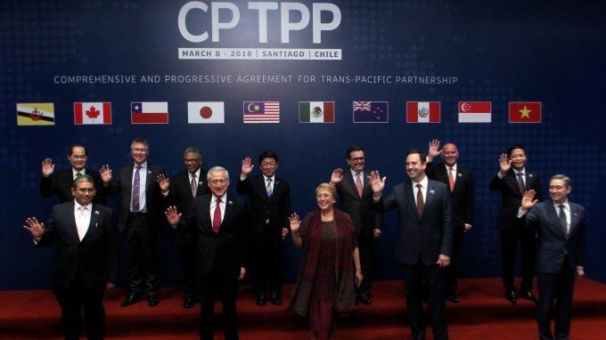CPTPP成員國合影 2018.03.08 (圖:AFP)