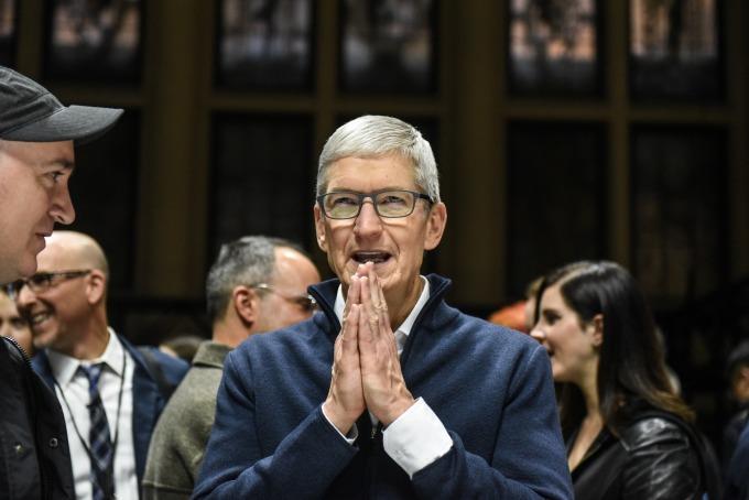 蘋果首席執行官庫克稱,受惠於蘋果龐大而快速發展的生態系統,服務業務將繼續締造新的記錄。(圖:AFP)