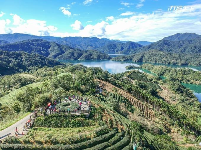 由八卦茶園觀景台可將茶園梯田與湖光山色盡收眼底。