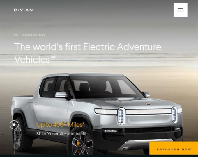 美國新創車廠 Rivian 推出 R1T 電動皮卡。(圖: Rivian 官網)