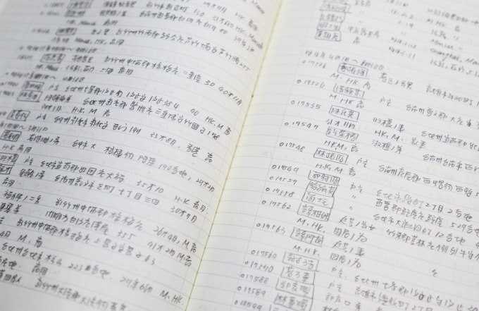 許雪姬初期手抄旅券資料,一筆一筆帶回臺灣。 資料來源│許雪姬