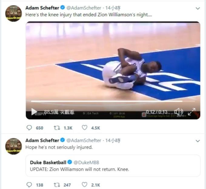 新秀籃球明星錫安威廉姆森 (Zion Williamson) 在比賽中不慎滑倒,腳上 Nike 運動鞋立即開口笑。(圖:Adam Schefter 推特)