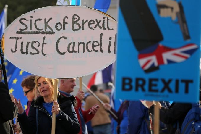 反對脫歐的英國民眾遊行活動 (圖:AFP)