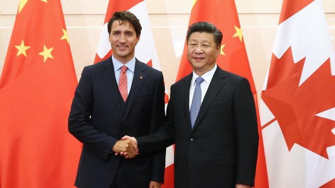加拿大總理杜魯道和中國國家主席習近平。(圖:AFP)
