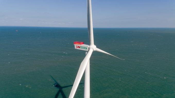 上緯海洋風電第一階段示範風機。(圖:取材自上緯官網)
