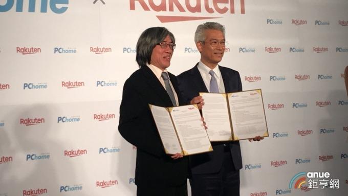 網家董事長詹宏志(左)與日本樂天集團亞洲區總裁高澤廣志Hiroshi Takasawa(右)。(鉅亨網記者王莞甯攝)