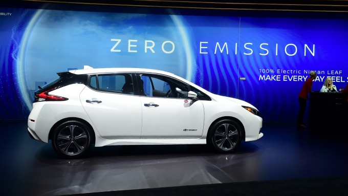 日產Leaf電動車。(圖:AFP)