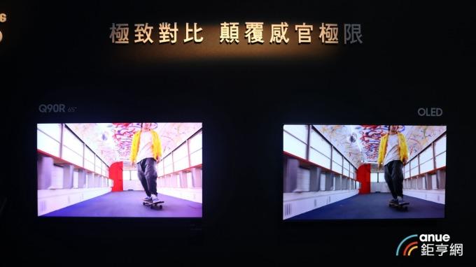 QLED量子電視(左)較OLED電視(右)色彩較為鮮艷。(鉅亨網記者劉韋廷攝)