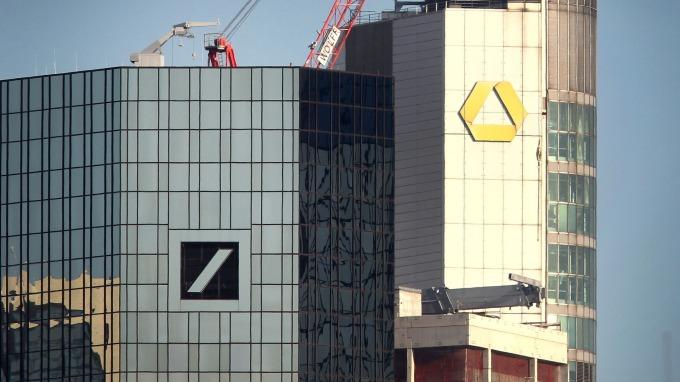 於美因河畔的德意志銀行和德國商業銀行的塔樓(圖:AFP)
