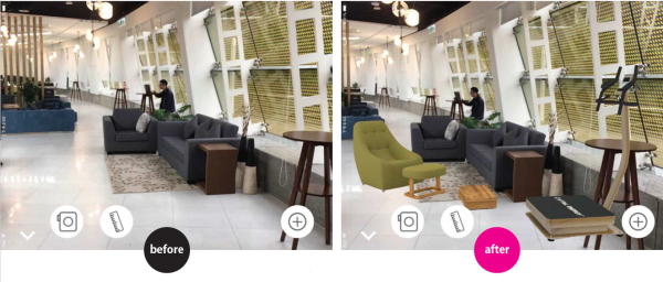 現場帶看人員利用愛實境的 AR 技術進行虛擬家具擺放,消費者可以預覽設計裝潢後的樣貌,拉近雙方的共識,有如數位樣品屋。