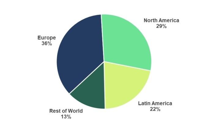 Spotify月活躍用戶全球分布(圖:Spotify/BusinessWire.com)