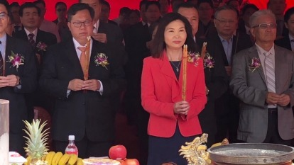 杏一董事長陳麗如(右二)與桃園市市長鄭文燦(右三)。(圖片:杏一提供)