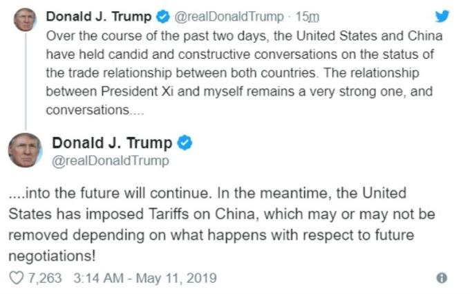 美國總統川普推文稱,美中會談將持續。(圖片:翻攝川普推特)