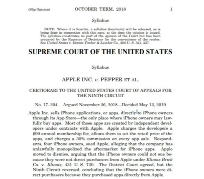 下級法院將持續進行蘋果 App Store 反壟斷訴訟。(圖片:美國大法官判決)