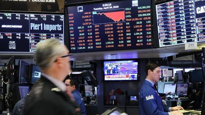 (圖片:AFP) 美國股市週三中場回檔