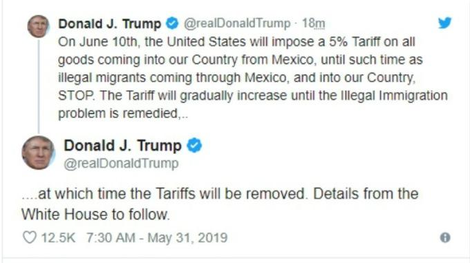 關稅人川普又發威,對所有墨西哥商品祭出 5% 關稅。(圖片:翻攝川普推文)