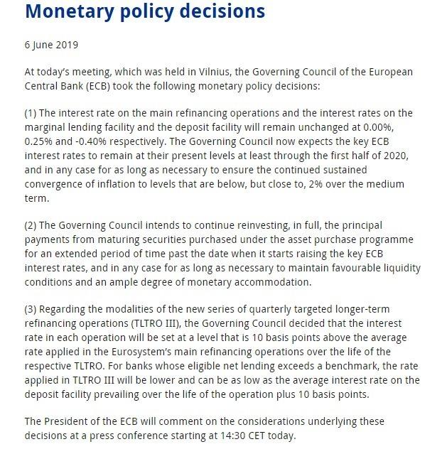 歐洲央行公布利率決策會議決議。(圖:翻攝自歐洲央行官網)