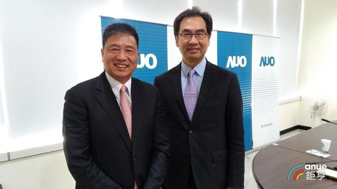 圖左為友達董事長彭双浪、右為總經理蔡國新。(鉅亨網記者彭昱文攝)